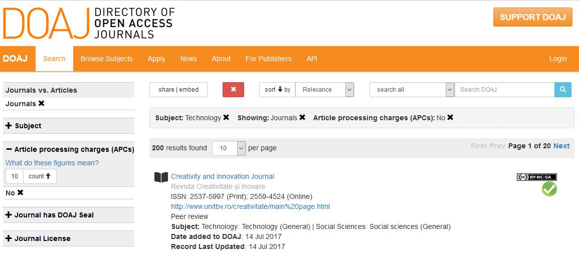 Rozhraní DOAJ (Directory of Open Access Journals)
